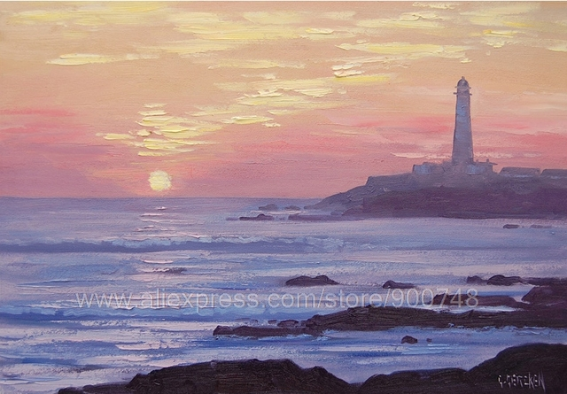 Huge Oil PaintingCalifornia Beach Painting Sunset Coast Lighthouse Seascape  Oil Home Decoration Bedroom Wall Pictures Fr
