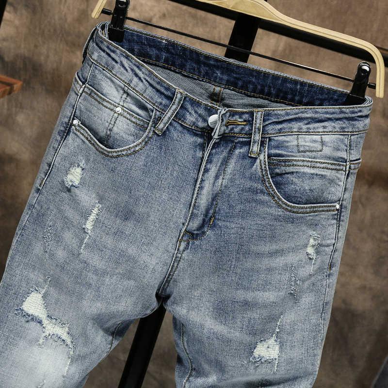 Рваные джинсы для мужчин, облегающий светильник, синий, уличный стиль, мужские джинсы, эластичные, облегающие, потертые, повседневные мужские брюки, мотобрюки байкер джинсы