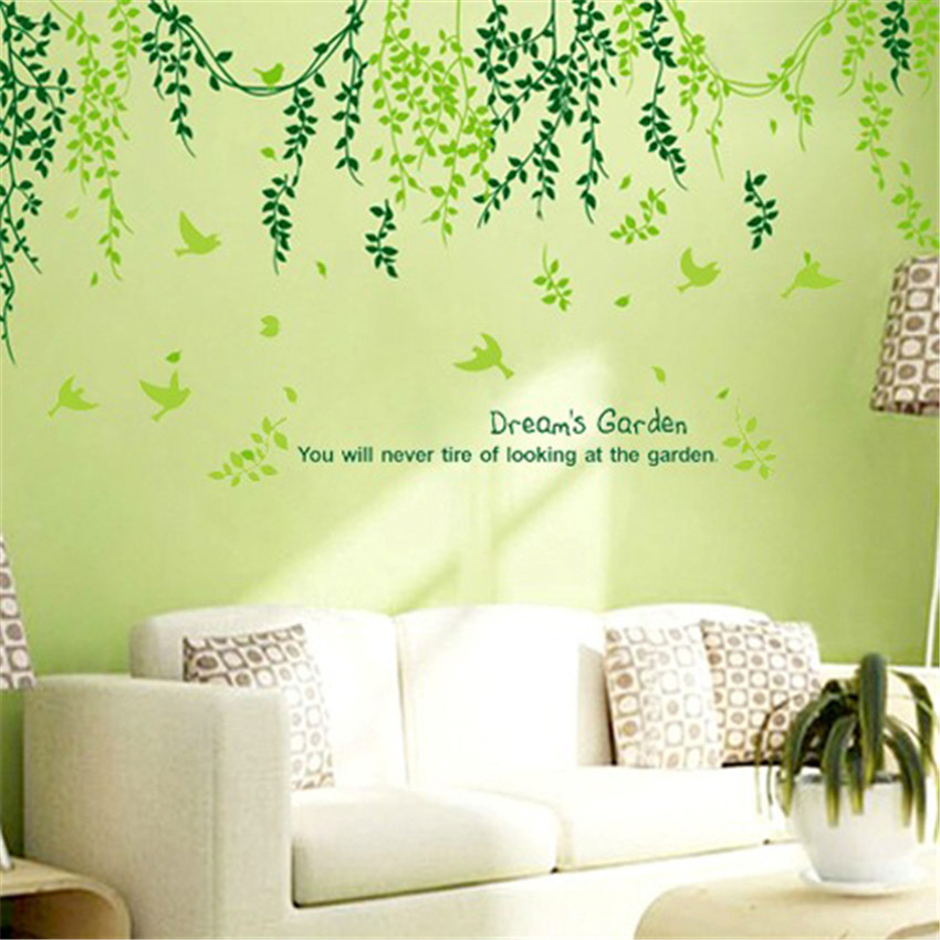 Plant modern wall sticker green leaves curtain wall - Wall sticker ideas for living room ...