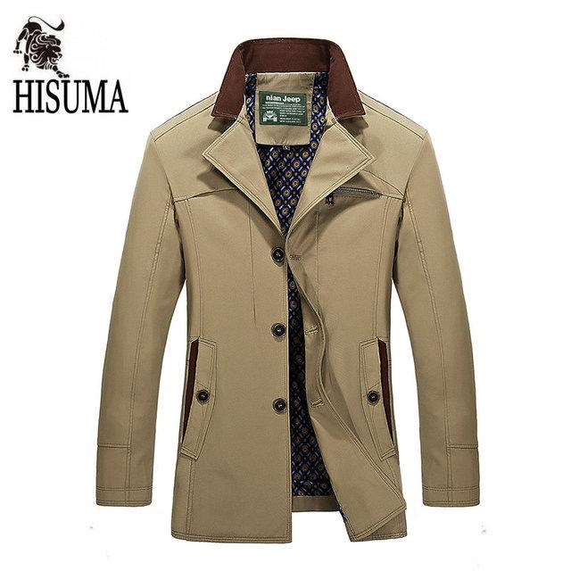 2016 Otoño invierno nuevos hombres de Negocios trench cazadora informal los hombres Más El tamaño M-5XL chaqueta prendas de vestir exteriores Masculina de algodón mercerizado