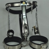 3pcs/set stainless steel male chastity belt handcuff for sex male chastity device thigh ring cock cage penis ring fetish wear wearable penis sleeve extender reusable condoms sex shop cockring penis ring cock ring adult sex toys for men for couple