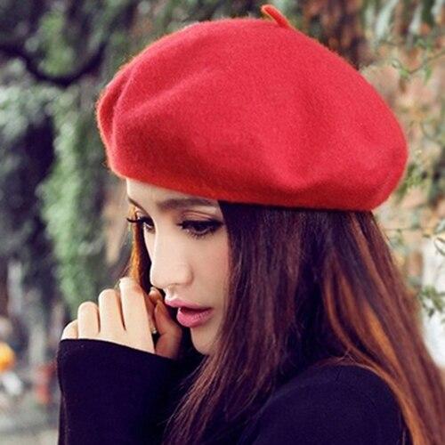 Kadın Klasik Yün Keçe Sıcak Fransız Bere Şapka Bere Saf Renk Tatlı Mini Kap