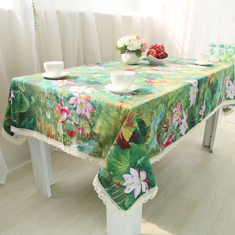 Image 2 - Chinese Classical Lotus Print Tablecloth Rectangular Lace Cotton Dining Table Cover Obrus Tafelkleed Weeding Party Home Decor-in Tablecloths from Home & Garden