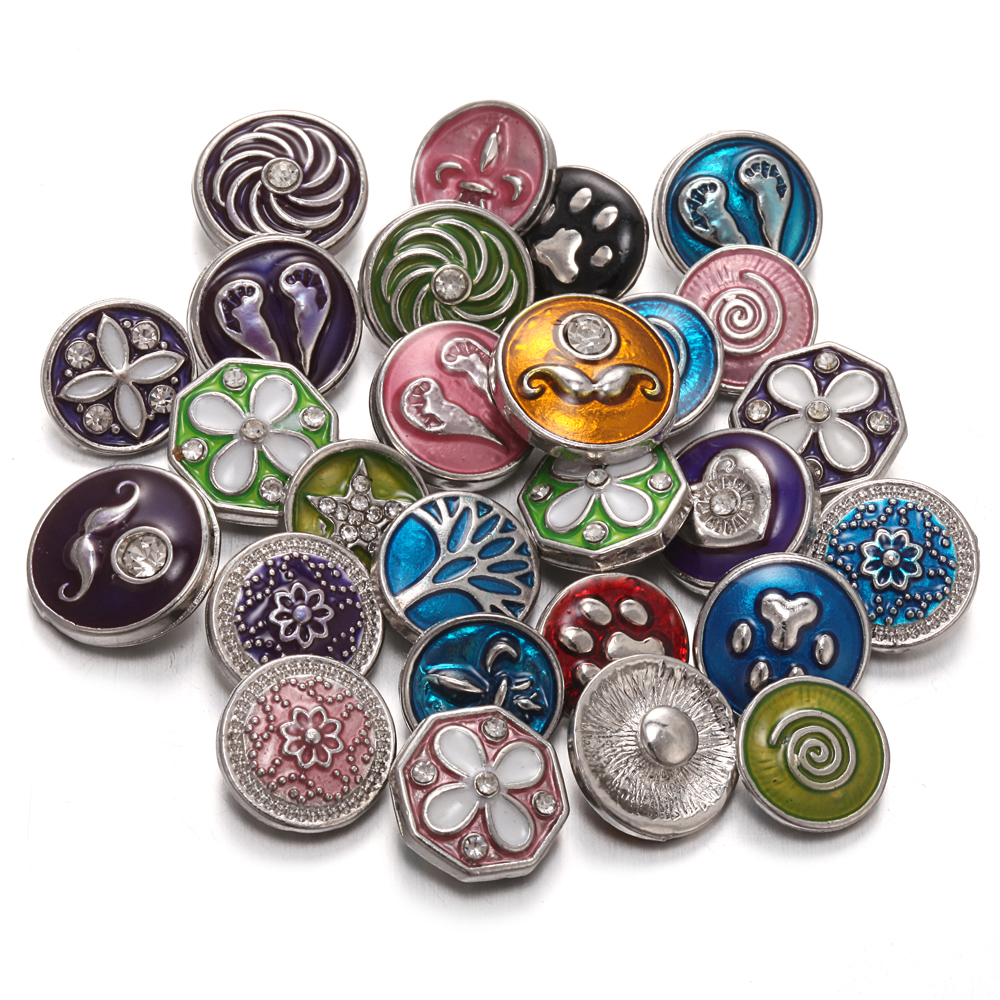 10pcs/lot New 12mm Snap Buttons for Snap Button Jewellery Flower 12mm Metal Snap Button Jewelry Charms Fit Bracelet Earrings image