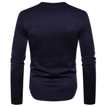 Nieuwe Mode Mannen Lange Mouw T-shirt Fluwelen Slim Button Henley Custom Shirt Effen Kleur Basic Tee Shirt Chemise Homme(China)
