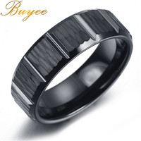 BUYEE Fashion Biker Ring Men Jewelry Classical Rings Black Color Vogue Gear Wedding Rings For Men