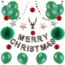 Christmas Decorations For Home With Reindeer Merry Bunting Banner Latex Balloon Festival Party Decor
