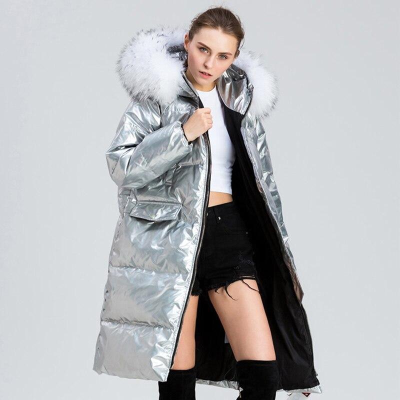 Natural Raccoon Fur Parka Winter White Duck   Down   Jacket Women Large Fur Collar Long Outwear 2019 New Women's Silver   Down     Coats