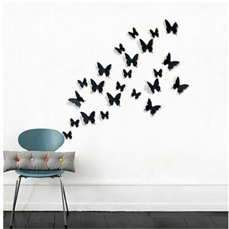 12Pcs 3D DIY Butterfly Wall Stickers Decal Wall Stickers Home Decor PVC Wallpaper For Living Room Adhesive to Wall Decals Decor