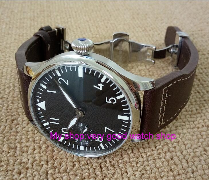 Butterfly buckle 2017 new fashion 44mm PARNIS pilot 6497 Mechanical Hand Wind movement mens watch wholesale xRNM11