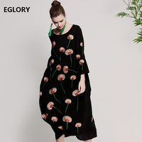 New Brand Chinese Style Women Lux Real Silk Embroidery O Neck Elegant Loose Midi Casual Vintage Dress Party Club Robe Femme 3XL