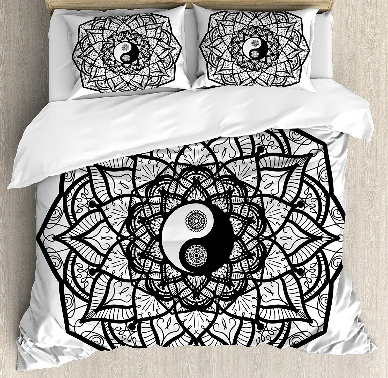 Ying Yang Housse de couette Floral Design Boho Mandala Graphique Art Yin Yang Courbes Méditation Mystique Monde Ensemble de Literie Noir blanc