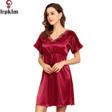 New 2017 Comfortable Chemise Women Night Sleepwear Nightgown Women Night Gown Sleeping Dress Faux Silk Satin Lace Pink SY102