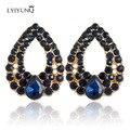 Das mulheres boutique de moda cheio de Strass Brincos de ouro-banhado Grande Azul Brinco De Cristal Brincos de Jóias Finas