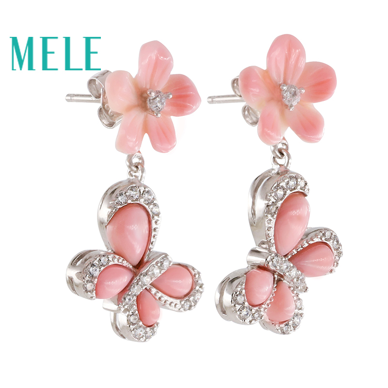 Natural shell real 925 silver stud earrings for women,flower butterfly shape , fashion with semi-precious stone pair of vintage rhinestoned openwork flower shape stud earrings for women