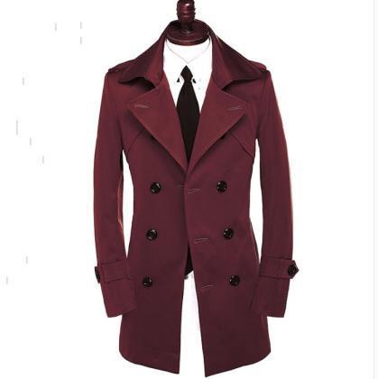Marca primavera coreano homens do revestimento de trincheira plus size adolescente blusão manteau homme mens casaco trespassado jaqueta vinho tinto