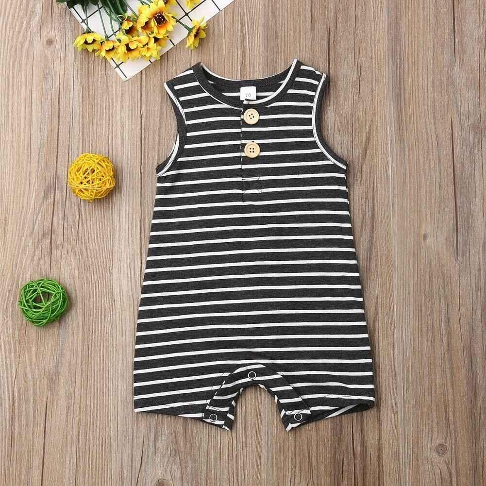 2019 Baby Sommer Kleidung 0-24 Neugeborenen Baby Junge Mädchen Gestreiften Strampler Kleidung Ärmel Striped Sommer Outfit Overall
