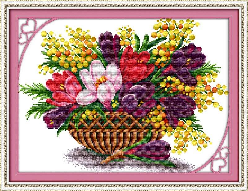 Piękny kwiat magnolii drukowane płótno DMC Counted chiński Cross - Sztuka, rękodzieło i szycie - Zdjęcie 3