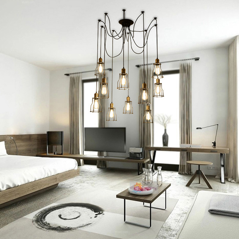 Vintage Style Loft Design Esszimmer Lampe Lichter Edison Spinne Lampe Mit  Eisen Abdeckung Kreative Kopf DIY Deckenpendelleuchte In Vintage Style Loft  Design ...