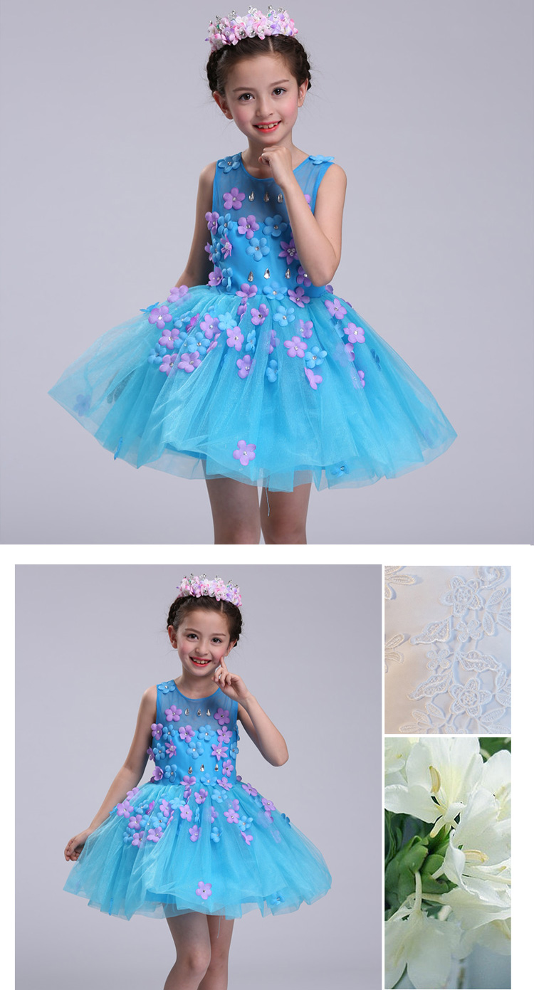 New summer baby girl Clothes print flower girl dress for wedding girls party dress with bow dress 15