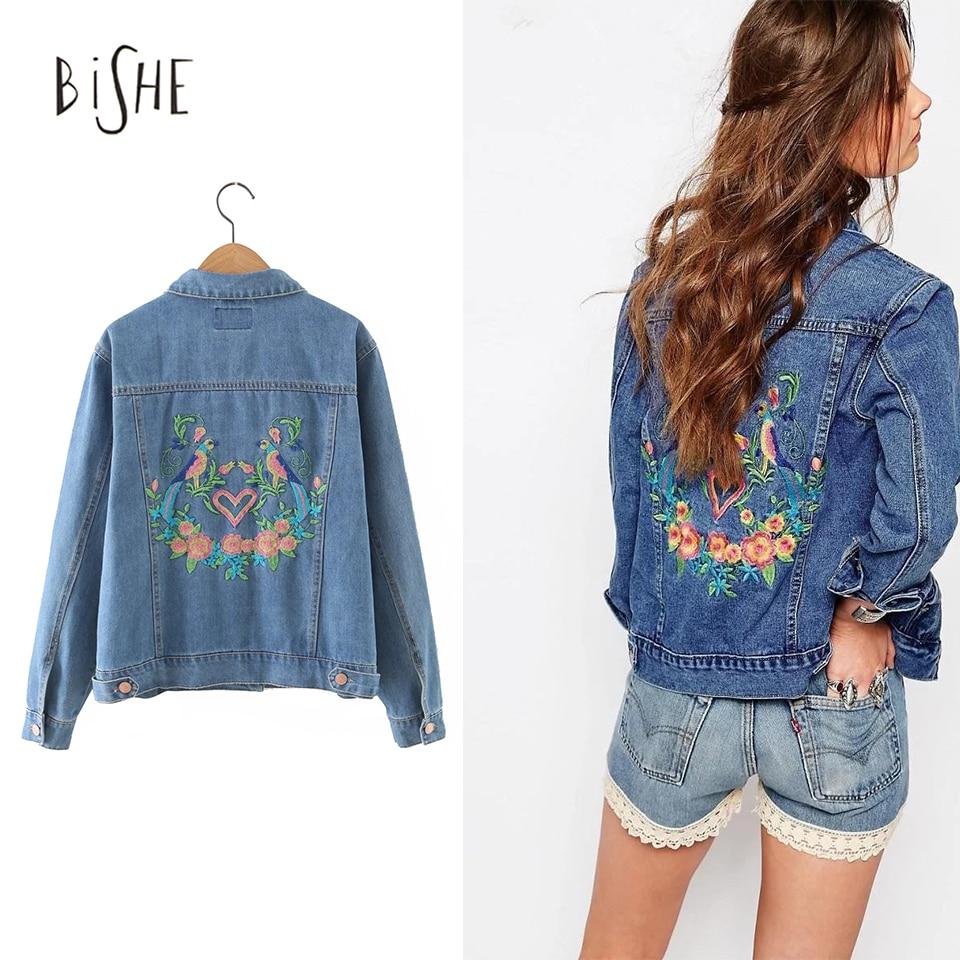 BiSHE Primavera Coloridas Aves Emboridery Florales Mujeres Streetwear Chaqueta d