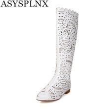 ASYSPLNX sexy Microfibre Cut-Outs Sculpture peep toe femmes genou haute bottes blanc d'été bottes plat Respirant dames Sandales chaussures