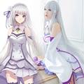 Re: La Vida en un mundo distinto de cero Emilia Peluca Sintética Re: Cero Emilia Recta Larga Gris Plata Anime Cosplay Peluca