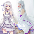 Re:Life in a different world from zero Emilia Synthetic Wig Re:Zero Emilia Long Straight Silver Grey Anime Cosplay Wig