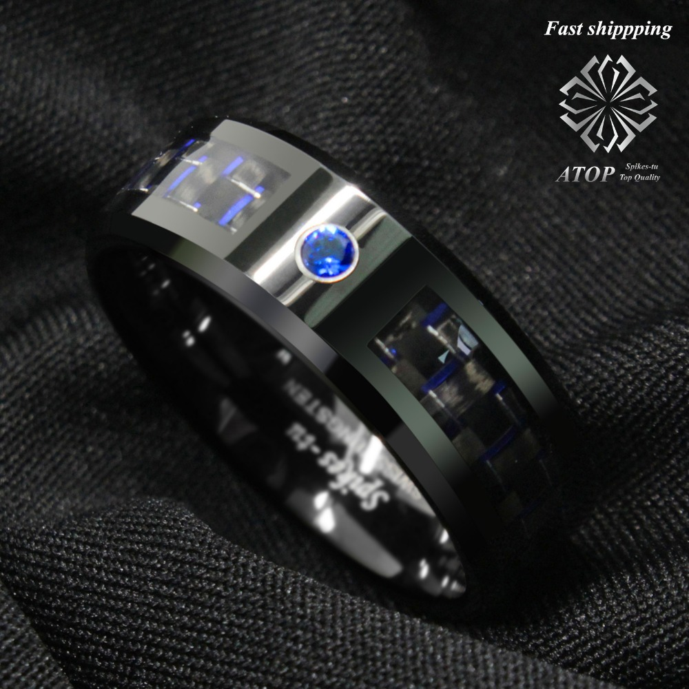 Black and blue Carbon Fiber Tungsten Ring Blue Men's jewelry Wedding Band Free Shipping