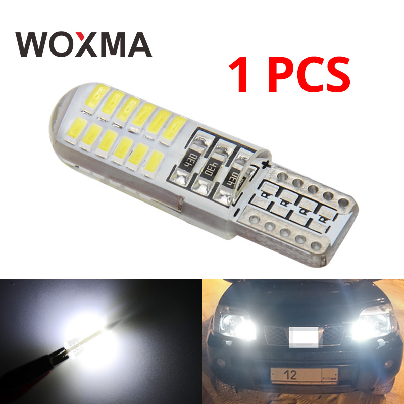 T10 LED W5W Car Light Bulb 12V t10 Auto Lamp 6000K White led 194 168 24smd 3014 Chip Super Bright Clearance Light Fit Moto WOXMA woxma t10 led w5w 12v t10 car light auto interior bulb 6000k white 12 smd silica cob chip 168 194 clearance light for car 10pcs
