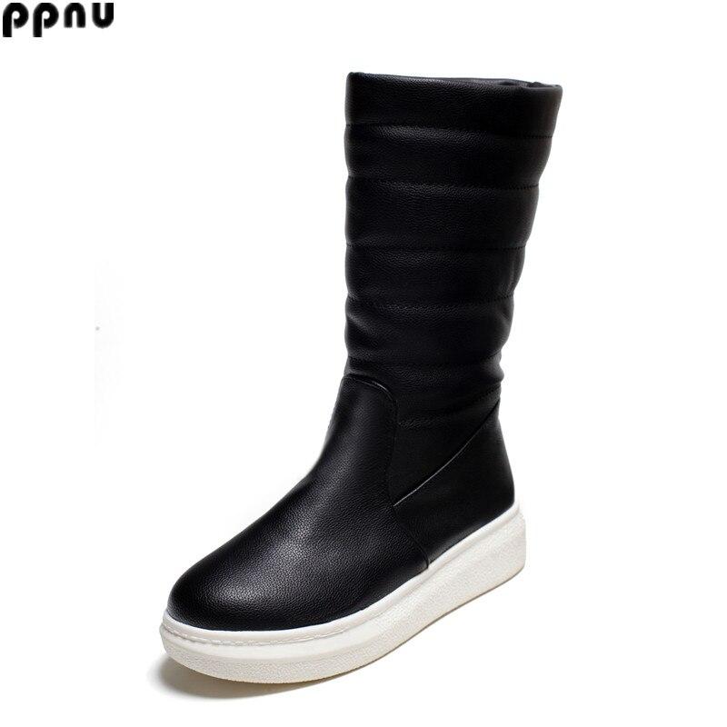 ФОТО RYVBA woman winter mid calf snow boots women fashion shoes womens half knee boots ladies thick plush warm shoes female flats