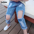 New Summer Kids Jeans Pants Clothing Children Jeans Kids Girls Elastic Casual Demin Hole Pants Brand Fashion Trousers For Girls