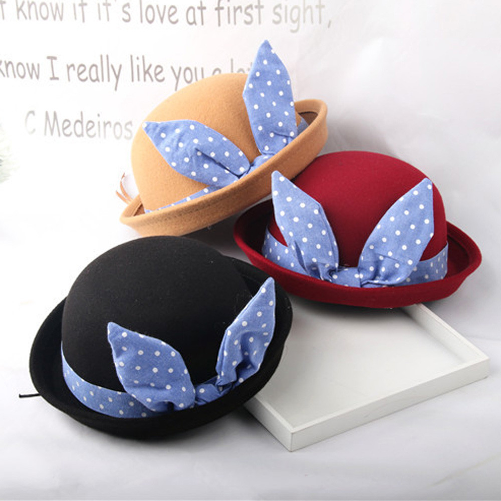 Fashion cute baby cap Baby Beanie For Boys Girls Rabbit Ears Dots Hat Children Woolen Hats Baby Bunny Beanie Cap Photo Prop 2-8T