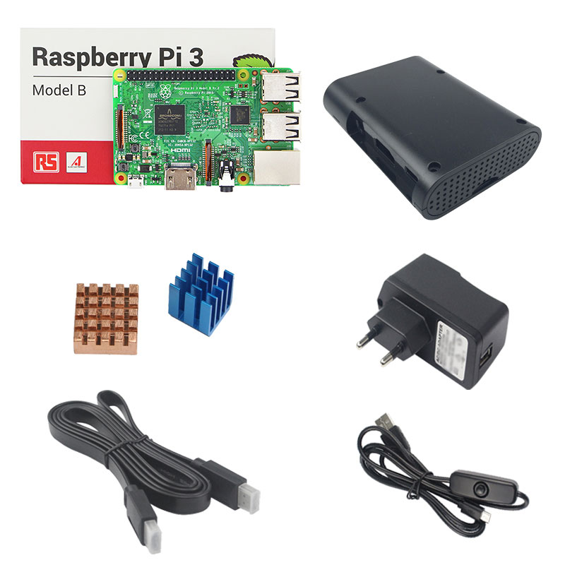 Raspberry Pi 3 Kit with Raspberry Pi 3 Model B+5V 2.5A Power Adapter Supply with Switch Cable+Heatsinks+ABS Case+1.5 HDMI Cable 5v 3a raspberry pi 3 power supply switch button power adapter micro usb port for raspberry pi 3 model b