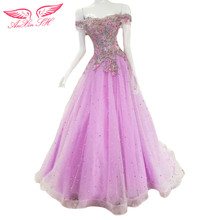 AnXin SH purpel lace evening dress candy color flower a line Colored beads evening dress 100