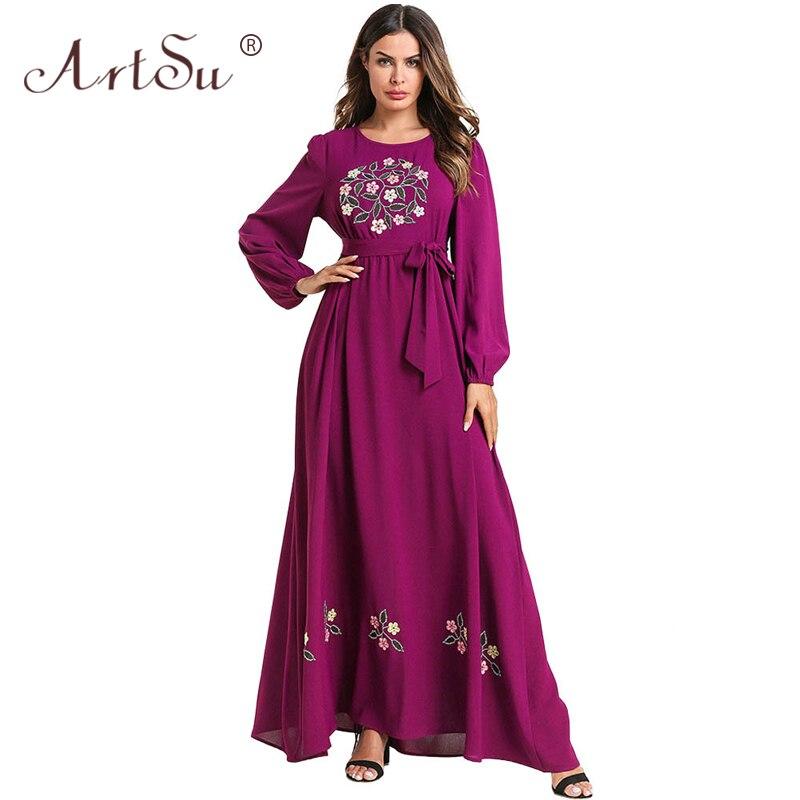 22e29ef2eedb51b Арцу с длинным рукавом Ретро Этническая Цветочная вышивка Повседневное  платье макси трапециевидной формы Пояса длинное платье