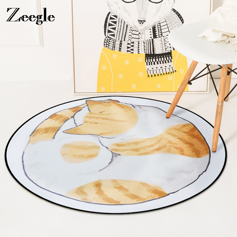 Zeegle Cat Painting Soft Round Carpet For Kids Room Area Rug For Living Room Anti-slip Baby Crawling Mats Table Chair Floor Mats