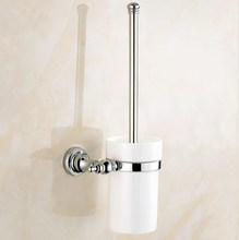 Polished Chrome Brass Wall Mounted Toilet Brush & Holder Set White Brush Ceramic Cup Bathroom Accessory aba906