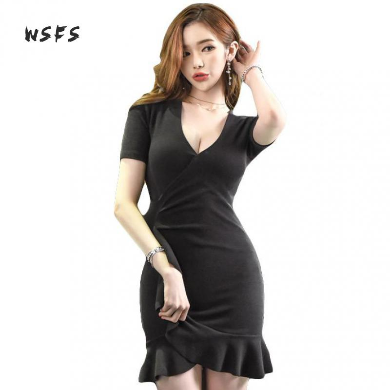 Wsfs Summer Black Khaki Knitted Dresses Vneck Short Sleeve Ruffles Women Dress Office Lady Sexy Party Vintage Bandage Mini Dress women sexy slim summer dress knitted bandage ruffles strap mini knitting dresses women club dresses