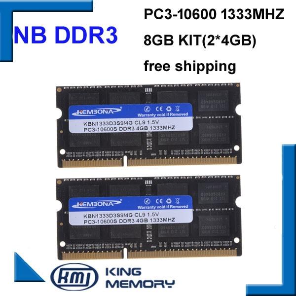 DDR3 1333Mhz 8GB (Kit of 2,2X 4GB) PC3-10600 1333D3S9/4G Brand New SODIMM Memory Ram memoria ram For Laptop computer