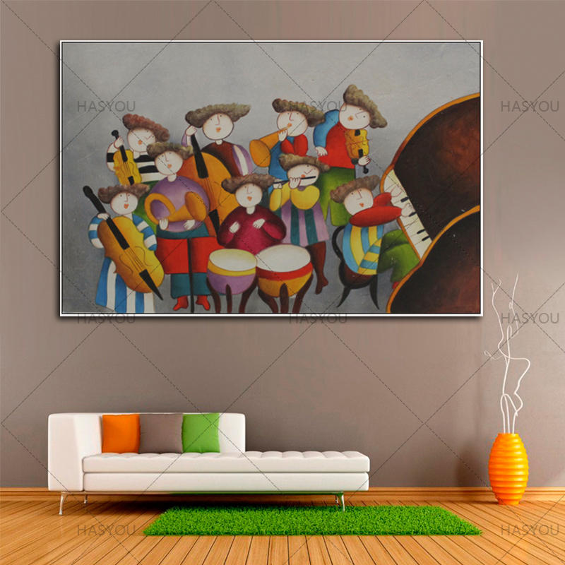high quality Hand-painted Figures Oil Painting on Canvas Abstract Symphony orchestra Oil Painting wall art for room Decoration no frame canvas