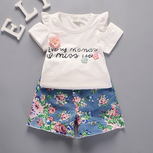 35e39aa17b03 2018 Summer Baby Boys Girls Clothing Set Casual Cotton Costumes Short Sleeve  +Floral shorts Newborn Infant Baby Suit Clothes