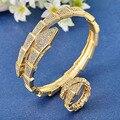 Grande Qualidade Banhado A Ouro Pulseiras de Zircão Anéis Para As Mulheres De Jóias de Noiva Dubai Pulseira de Cobre Fino Anel Aneis Marca Pulseira de Ouro