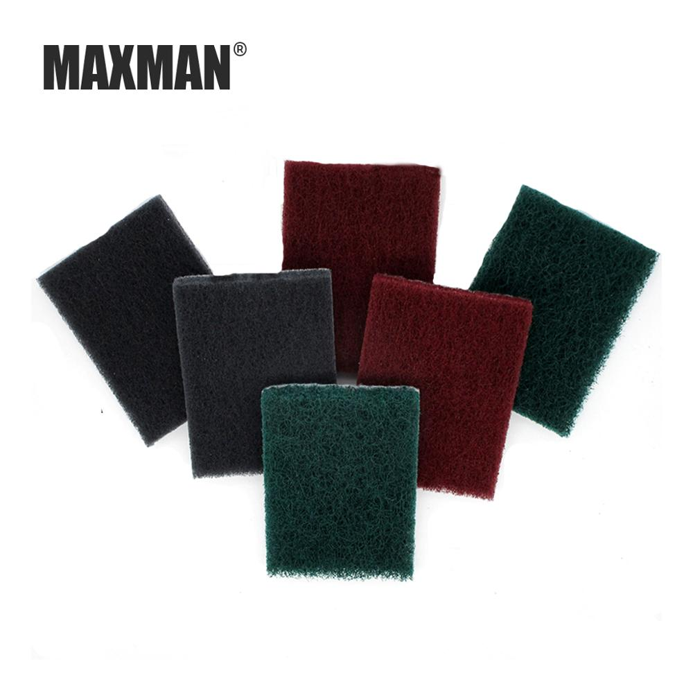 MAXMAN 75x100MM Rectangular Scouring Pad Back Velvet Brushed Self-adhesive Polished Stainless Steel Brushed Cloth Rust Cleaning