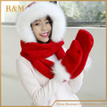 Double layer thickening comfortable Hat scarf gloves a lot female piece set fall and winter thermal exhaust scarf