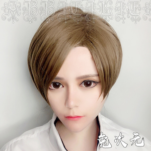 Image 3 - Leon Scott Kennedy Short Brown Mixed Wig Ada Wong Black Cos Synthetic Hair Cosplay Costume Wigs + Wig Cap