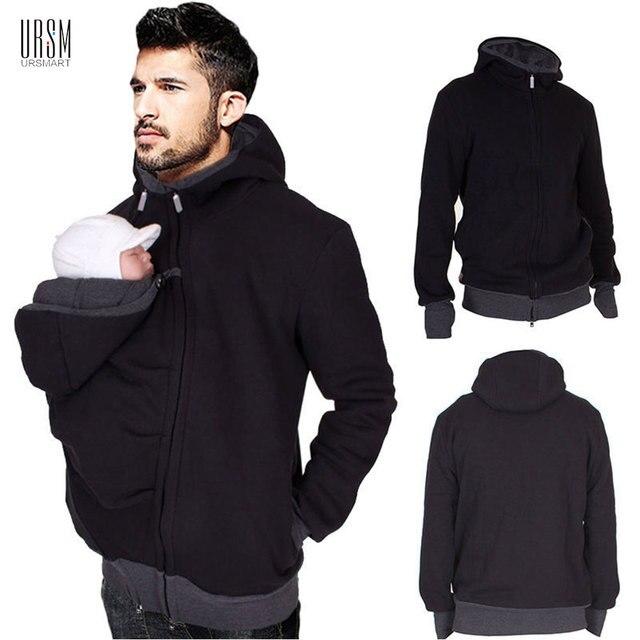 c23d1ab142ab Automne Hiver Kangourou Porte-Bébé Sweat Shirts Pour Père 3 dans 1 Portage  Veste Multifonctionnel