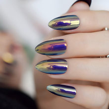 Metallic Mirror Bright Chrome False Stilettos Nail Metal Oval Almond Sharp Fake Nails Manicure Full Nails Art Tips(China)