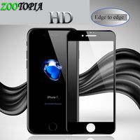 ZOOTOPIA 9H 4D Curved Edge Full Cover Tempered Glass for iphone 6 glass iPhone 7 Glass X 8 7 6 s 6s plus Screen Protector film