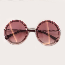 Eileen&Elisa Ladies Round Sunglasses Women 2019 Alloy Frame Chain Sun Glasses UV400